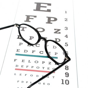Eye chart and eyeglasses