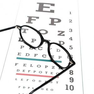 Eye chart and eyeglasses